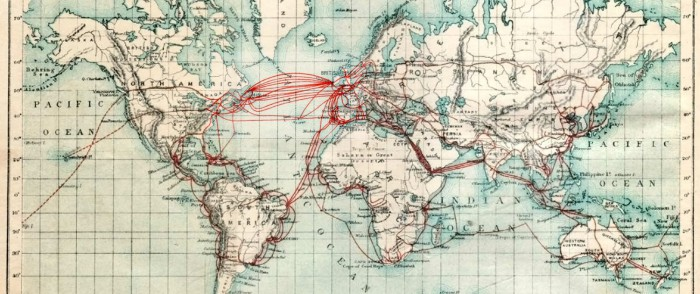 The Eastern Telegraph Co.: System and its general connections. Chart of submarine telegraph cable routes 1901