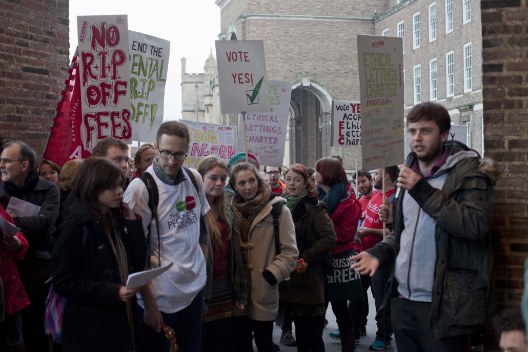 Housing demonstration. Photo: Rowan Quarry