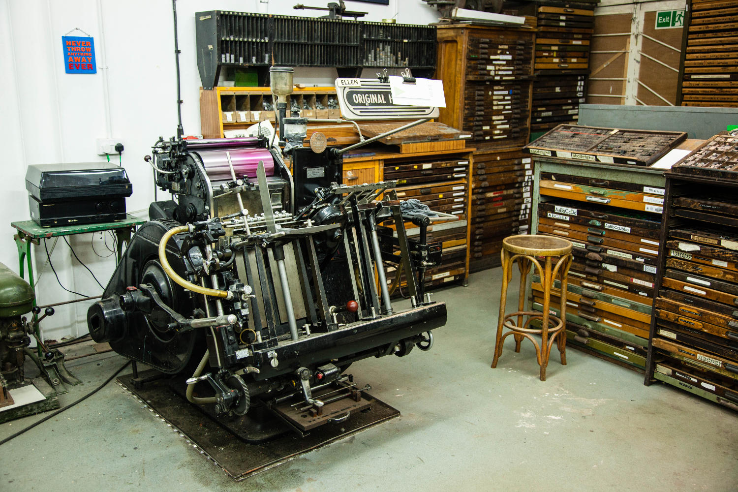 giant metal printing press empty