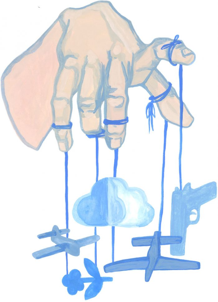 various weapons hanging from a hand like a puppet