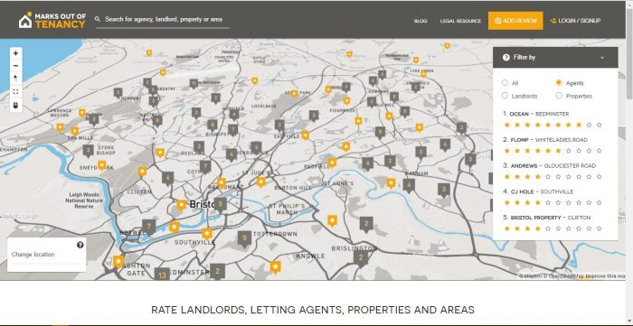 A rendering of Bristol as it appears on the Marks Out Of Tenancy website, with letting agencies and different neighbourhoods highlighted