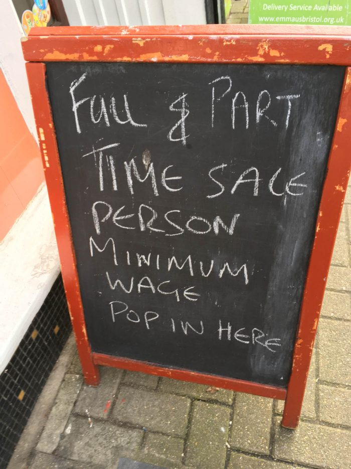 Vacancy sign from outside shop