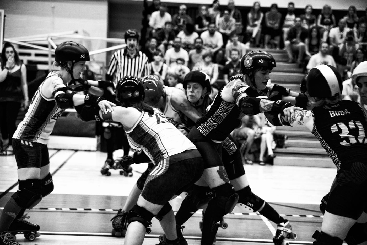 clash of women all bumping in to each other!