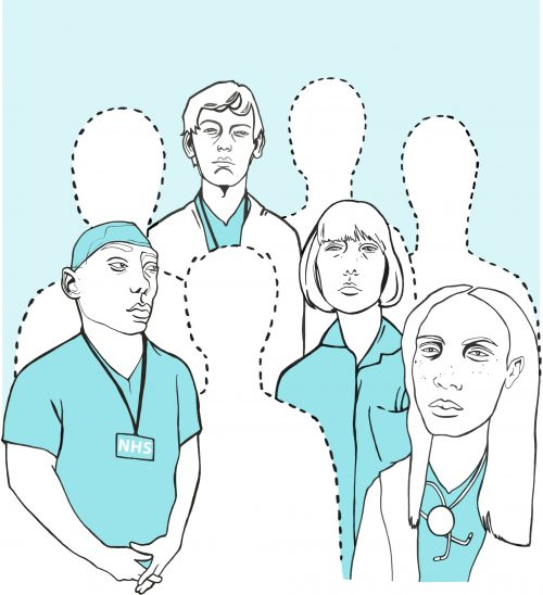 Nhs workers, some are outlines indicating they are absent with stress