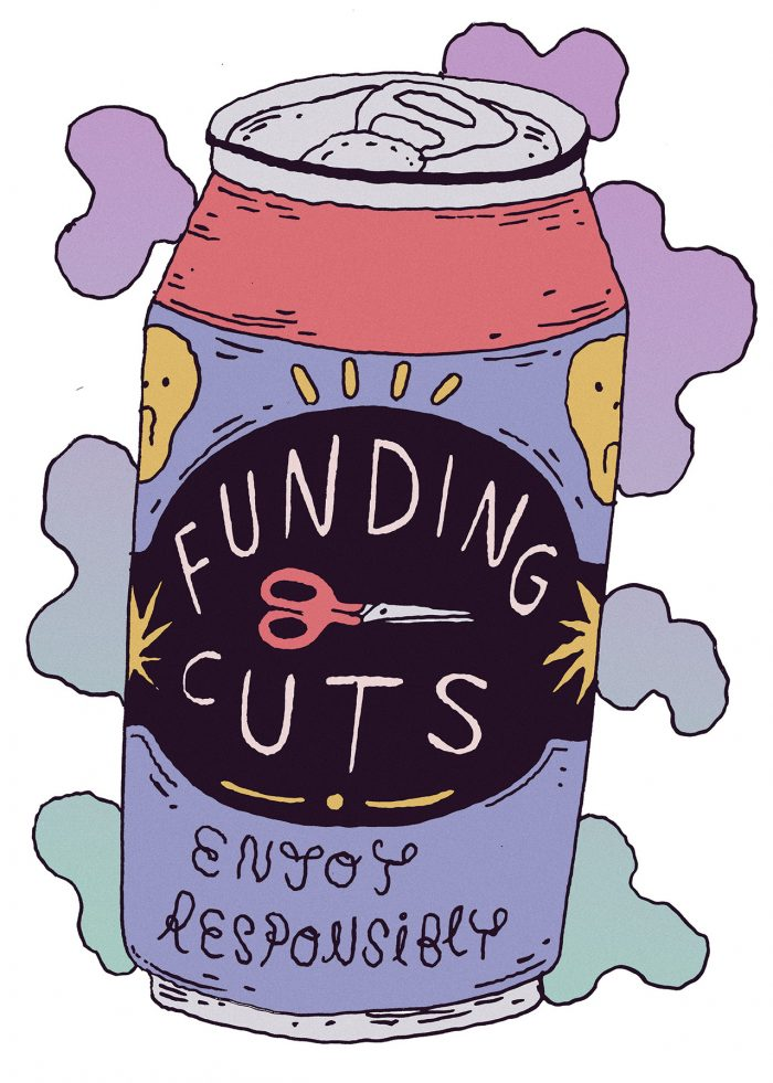 can in the style of a beer with the words funding cuts, enjoy responsibly