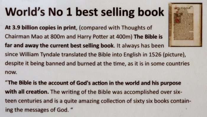 a sign about the bible being the best selling book