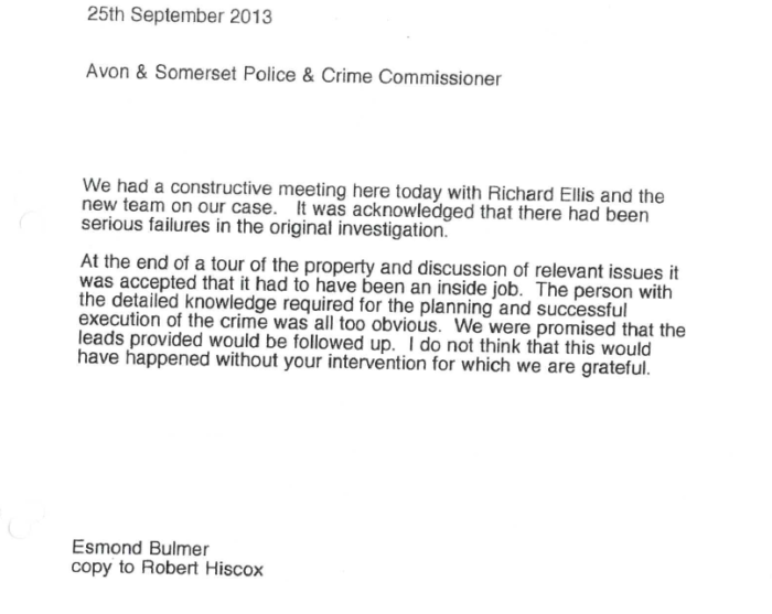 A letter from Esmond Bulmer to the Avon & Somerset Police & Crime Commissioner