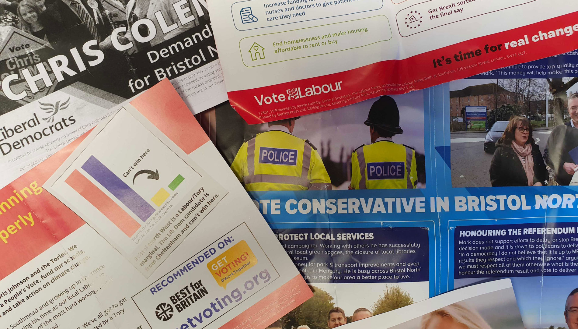 Political campaign leaflets from Bristol